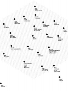 Carte des 23 Fonds régionaux d'art contemporain