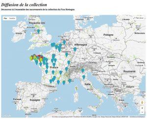 Cartographie de diffusion de la collection du Frac Bretagne