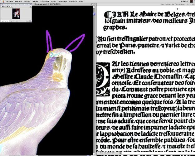 Raymond Hains, L'amant vert en âne (de la série Macintoshage), 1999 (détail), Collection privée, Bruxelles Crédit photo : Eric Fabre © Adagp, Paris 2014