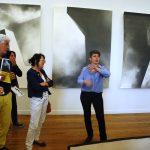 Angélique Lecaille reçoit les Amis du Frac, avant le vernissage de son exposition Le baiser du charbon ardent (2 juillet – 4 septembre) au Centre d'art contemporain de Pontmain (Mayenne).