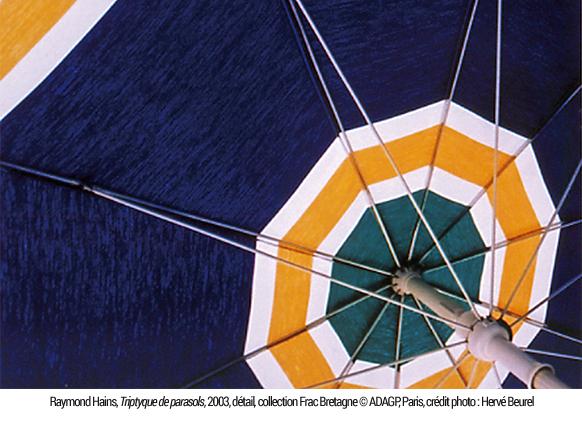 Raymond Hains. Triptyque des parasols, 2003, détail, collection Frac Bretagne © ADAGP, Paris, crédit photo : Hervé Beurel