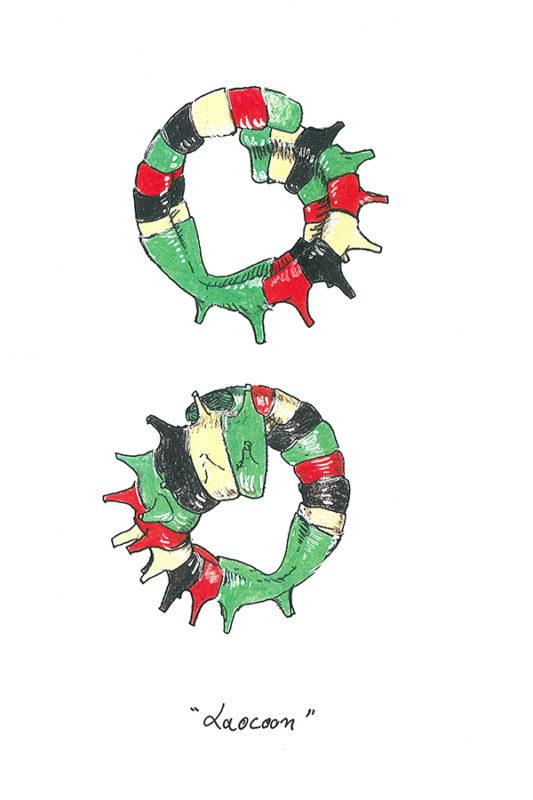 Etienne Bossut, Laocoon (dessin), 2003 © Etienne Bossut - Visuel/scan extrait du livre « Bidon. Petits dessins 1979-2003 », Mamco éditions, p. 135