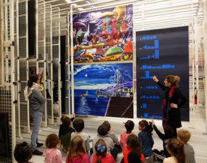 """2 avril 2019, visite au Frac Bretagne des élèves CP-CE1 de l'école Francois Leizour de Guingamp dans le cadre du projet participatif, exposition """"Correspondances"""""""