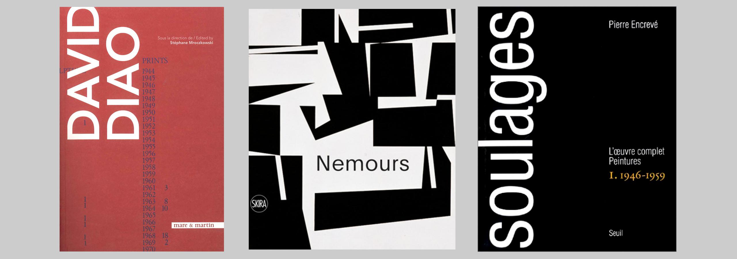 Première de couverture de 3 livres : David Diao, Nemours et Soulages
